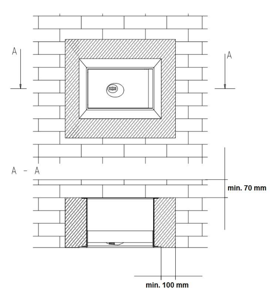 Zależności montażowe sejfów serii KSN